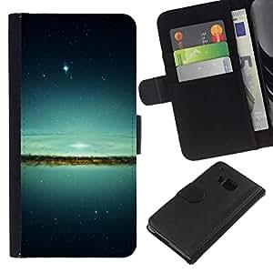 NEECELL GIFT forCITY // Billetera de cuero Caso Cubierta de protección Carcasa / Leather Wallet Case for HTC One M7 // Espacio Galaxy