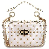 Fashion 2 in 1 Clear Tote Bag Rivet Transparent Design Handbag Metal Chain Clutch Purse Shoulder Bags (White)