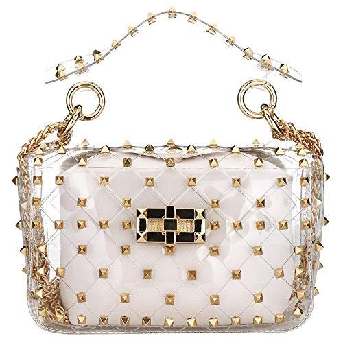 Fashion 2 in 1 Clear Tote Bag Rivet Transparent Design Handbag Metal Chain Clutch Purse Shoulder Bags (White)