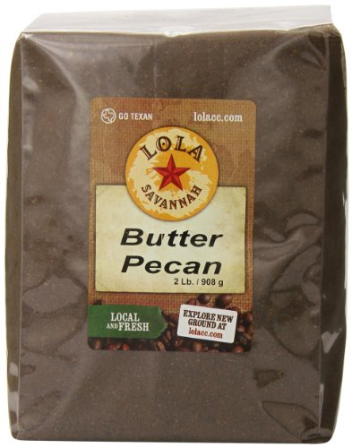 - Lola Savannah Butter Pecan Ground Coffee - Arabica Beans Flavored with Butter and Pecans | Caffeinated | 2lb Bag