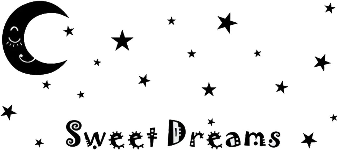 Sweet Dream Wall Decal Stickers Moon Star Wall Decal for Home Baby Room Decor