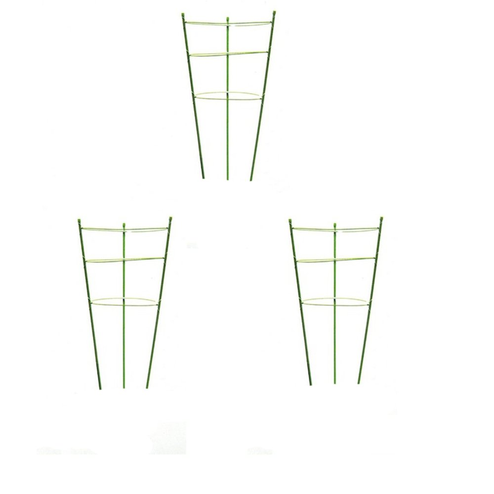 Plant Support Ring Garden Trellis Flower Iron Support Climbing Plant Grow Cage  Green, Set of 3 (3pack-18'')