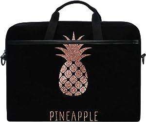 JOYPRINT Laptop Sleeve Case, Rose Gold Pineapple Pattern 14-14.5 inch Briefcase Messenger Notebook Computer Bag with Shoulder Strap Handle for Men Women Boy Girls