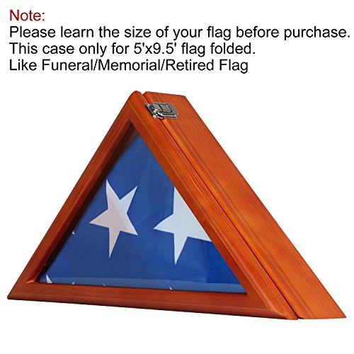 OOFIT Flag Solid Wood Display Case for 5' X 9.5' Burial Funeral Veteran Memorial Flag (Oak ()