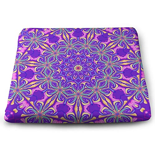 - Pamdart Abstract Art Background Colorful Kaleidoscope Customized Square Seat Cushion Memory Cotton Zipper Detachable for Dining Table Patio Chair