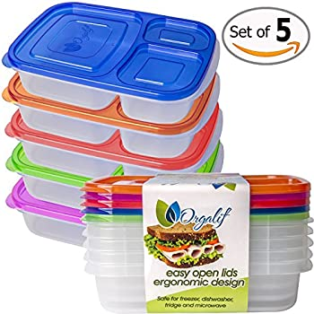 Orgalif 3-Comparment Reusable Plastic Bento Lunch Box (Set of 5)