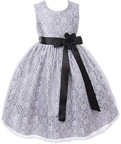Big Girls' Silver Dress Lace Custom Ribbon Flowers Girls Dresses Black Black 8 ()