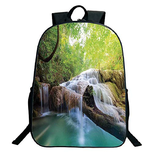 Pictures Print Design Black School Bag,backpacksWaterfall,Landscape with Flowing Water of Erawan Cascade in Rain Forest,Light Green Turquoise Brown,for Kids,Comfortable Design.15.7