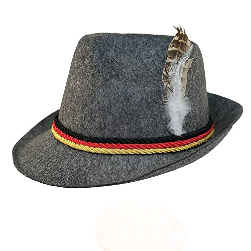 Grey Felt Alpine Oktoberfest German Bavarian Costume Hat w/Feather