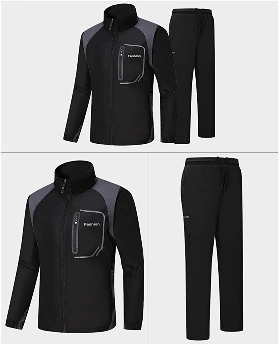 Mens Athletic Tracksuit Full Zip Running Tracksuit Sports Set Jogging Sweat Suits
