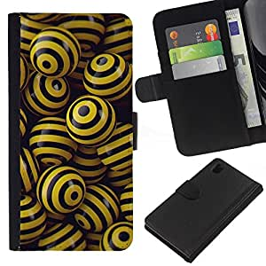 Protector de cuero de la PU de la cubierta del estilo de la carpeta del tirón BY RAYDREAMMM - Sony Xperia Z1 L39 - NEGRO y bolas amarillas