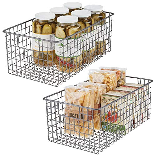 (mDesign Farmhouse Decor Metal Wire Food Organizer Storage Bin Basket with Handles for Kitchen Cabinets, Pantry, Bathroom, Laundry Room, Closets, Garage - 16 x 9 x 6 in. - 2 Pack - Graphite Gray )