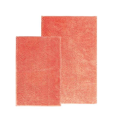 Comfy Soft Microfiber Bath Mat Rug, Non Slip Bathroom Mats Rugs with Soft & Absorbent Shag, Machine Washable, Shaggy Rug for Bathroom Tub, Set of 2, Coral Pink (Rug Orange Coral)