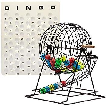 Image of Professional Bingo Game Set with Extra Large Bingo Cage, Multicolor Ping Pong Bingo Balls and Master Bingo Board Bingo Sets