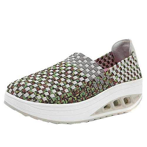 Binying Women's Breathable Woven Slip on Shoes Green 48fA8Sd