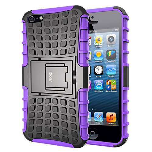 Price comparison product image iPhone 5S Case,iDoer [Armor Wave] Heavy Duty Protection Rugged Hybrid Dual Layer Hard PC and Soft TPU Stand Case With Kickstand for Apple iPhone 5 and 5S (Purple)