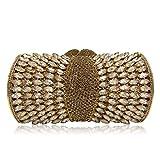 Milisente Women Evening Bag Gillter Diamond Crystal Evening Clutches Bag (Deep Gold)