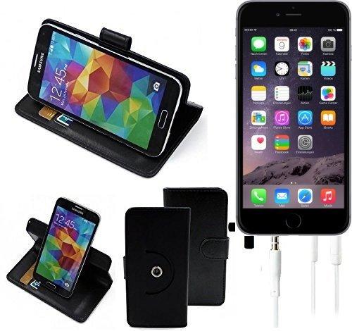 TOP SET: Housse 360° Cover pour Smartphone Apple iPhone 6, noir + Écouteurs   Wallet Case Etui portefeuille de Flip Cover - K-S-Trade (TM)
