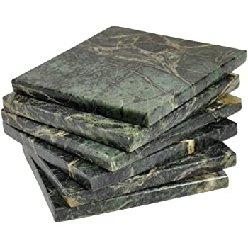 CraftsOfEgypt Set of 6 - Green Marble Stone Coasters - Polished Coasters - 3.5 x 3.5 Inches (9x9 cm) Square - Protection from Drink Rings