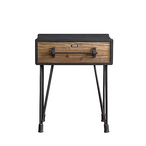 Mesita de noche de la industria vintage negra, mesa auxiliar ...