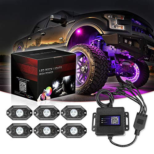 RGB LED Rock Lights, 6 Pod Lights SWATOW 4x4 Multicolor Neon LED Lights w/Bluetooth Control Underglow Trail Rig Lights Wheel Rock Lights for Truck Jeep Car ATV UTV RZR