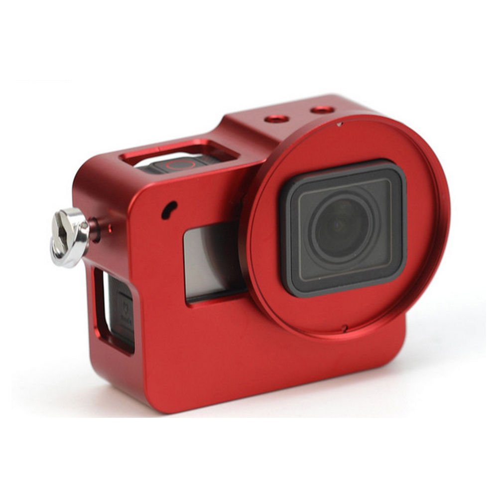 Aluminum Alloy Protective Frame Case, iKNOWTECH Housing Sport Camera Shell Box CNC Frame Mount Prevent Overheating with Protective Lens for Gopro HERO 5 (Red) by iKNOWTECH