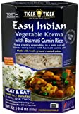 Tiger Easy Indian Heat & Eat, Vegetable Korma with Basmati Cumin (Jeera) Rice, 19.4-Ounce Boxes (Pack of 6)
