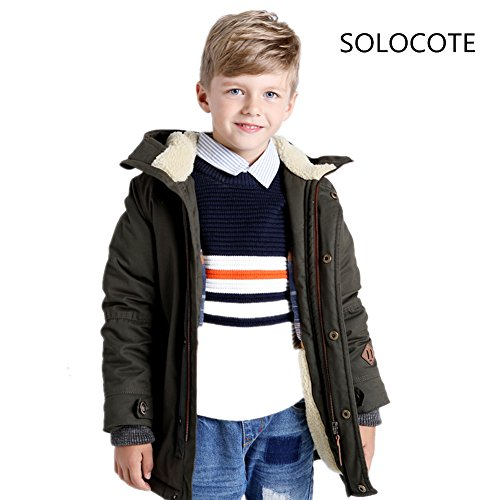 Infant Green Olive Costume (SoLoCoTe Winter Coats for Boys Cotton Thick Waterproof Outdoor Lightweight Windbreaker Outwear Jacket (3/4Y, Olive Green))