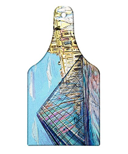 (Lunarable Sketchy Cutting Board, Louvre Palace Museum Paris Famous Modern French Place Pop Art Style Day Time Image, Decorative Tempered Glass Cutting and Serving Board, Wine Bottle Shape, Blue Cream )