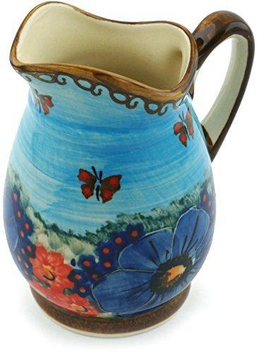 Polish Pottery Pitcher 12 oz Field Of Butterflies UNIKAT