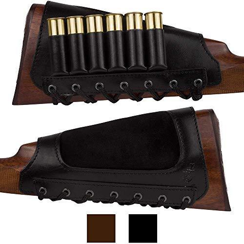 BronzeDog Leather Cartidge Buttstock Shotgun Shell Holder, Hunting Buttstock Ammo Holder Pouch Bag for Rifles, Shotgun Shell Pouch Shell Holder Stock (Glossy Black)