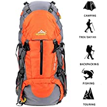 SMEAMUS 45L+5L Trekking Backpack Waterproof for Outdoor Travel Hiking Climbing Camping Mountaineering Rucksack with Rain Cover