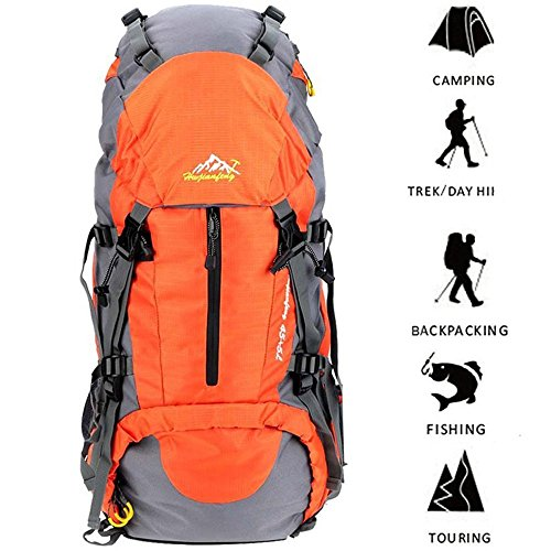 Hiking Backpack 50L Travel Daypack Waterproof with Rain Cover for Climbing Camping Mountaineering by Loowoko(Orange) Frame Backpack