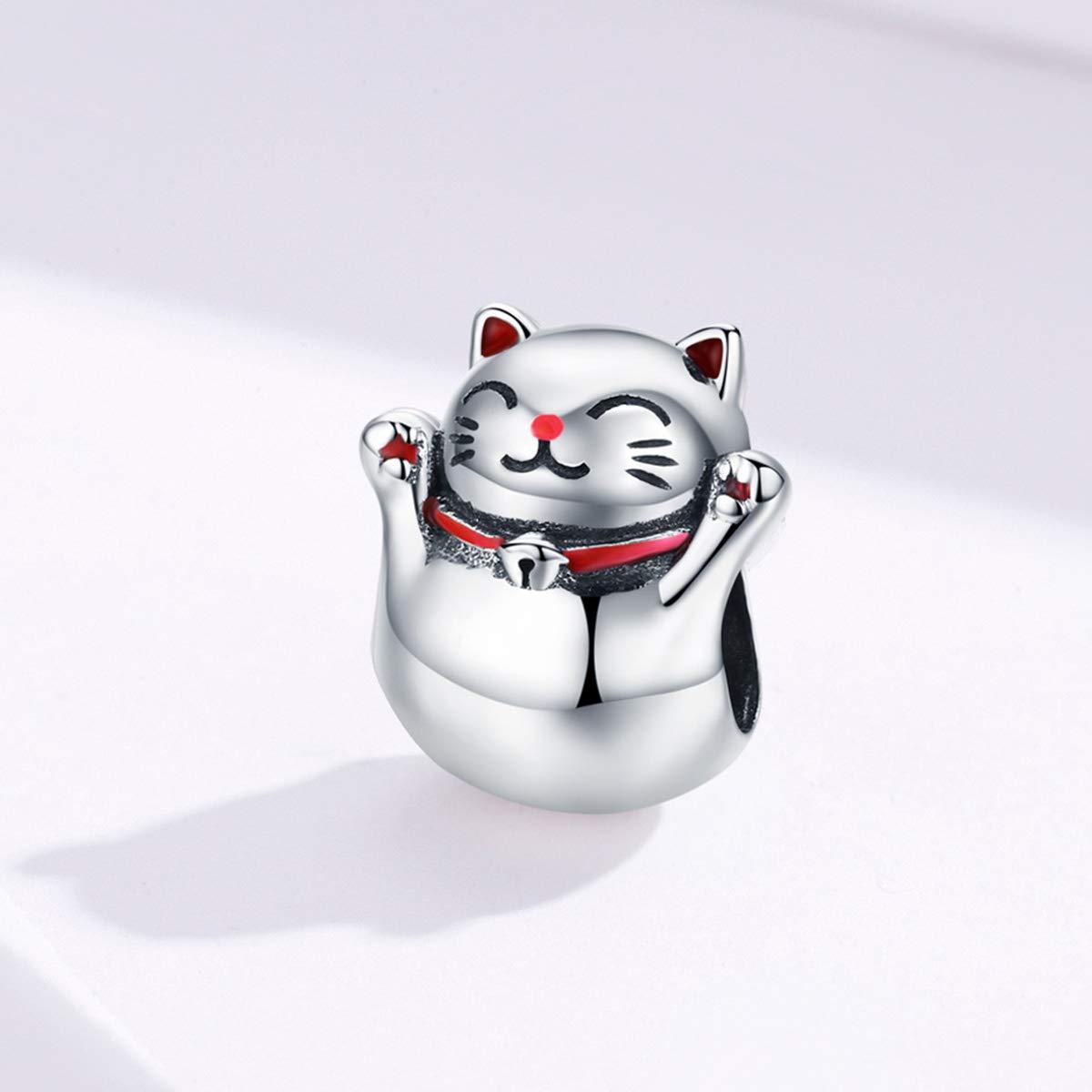 Abalorio de gato de plata de ley 925 con diseño de coño de la suerte, con circonitas cúbicas rosas, para pulsera y collar, regalo de Navidad para ...