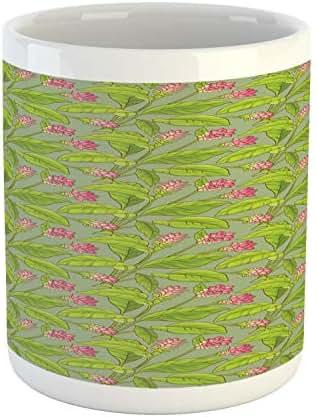Ambesonne Botanical Mug, Floral Pattern Cartoonish Turmeric Flower Blossom, Printed Ceramic Coffee Mug Water Tea Drinks Cup, Pistachio Green Apple Green Pink