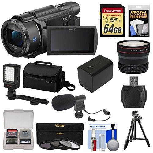 Sony Handycam FDR-AX53 Wi-Fi 4K Ultra HD Video Camera Camcorder + 64GB Card + Battery + Case + Tripod + LED Light + Mic + Filters + Fisheye Lens Kit by Sony