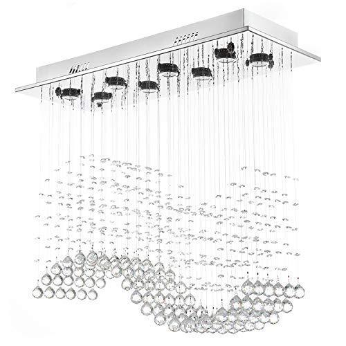 - Moooni Modern Crystal Chandelier Lighting Wave Dining Room Ceiling Light Fixture L31.5