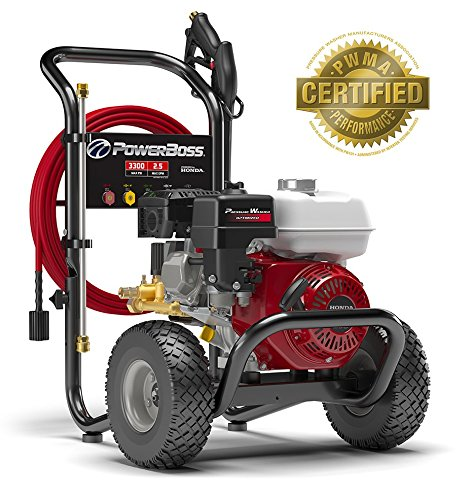 Honda Adjustable Washers - PowerBoss Gas Pressure Washer 3300 PSI 2.5 GPM Powered by HONDA GX200 with 30' EASYFlex High-Pressure Hose, 5 Nozzles & Detergent Injection