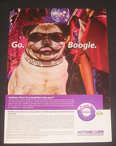 2003-print-ad-advair-for-asthma-pug-dog-go-boogie-original-magazine-advertisement-collectible-paper-