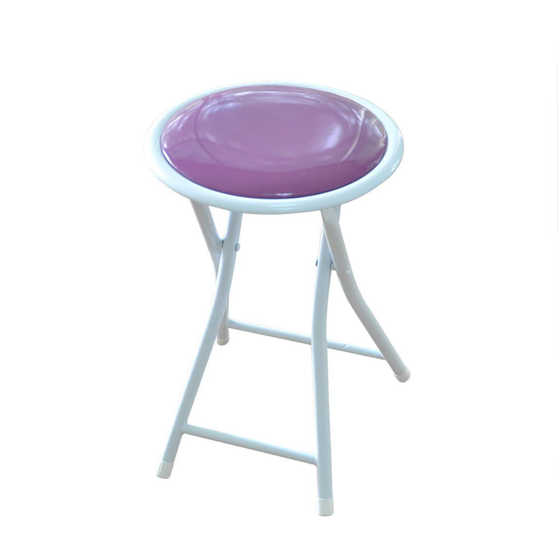 Purple XHLZDY Folding Chair, Dining Chair Folding Stool Portable Chair Small Round Bench (30×30×43cm) (color   White)