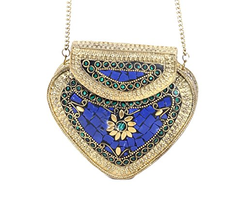 handmade-antique-metal-clutch-purse-wallet-hard-handbag-elipse-shape-for-women-golden-bluecolor-14x1