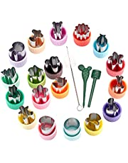 AIMEETO Vegetable Cutter Shapes Set 18pcs Mini Sizes Cookie Cutters Set Fruit Cookie Pastry Stamps Mold