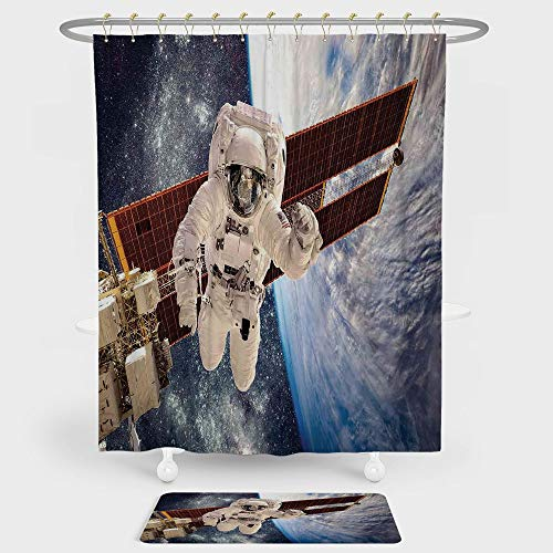 iPrint Outer Space Decor Shower Curtain And Floor Mat Combination Set International Station Global Communication Orbiting over Earth Rocket Photo For decoration and daily use Multi