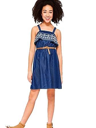 217dbe32c Amazon.com  Justice Girls Embroidered Ruffle Denim Dress Medium wash ...