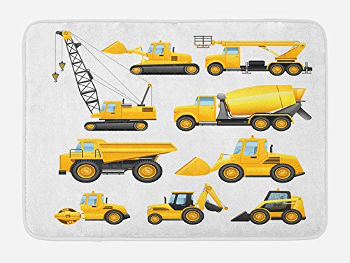 Boy's Bath Mat by Ambesonne, Abstract Images of Construction Vehicles and Machinery Trucks Bulldozer Crane, Plush Bathroom Decor Mat with Non Slip Backing, 29.5 W X 17.5 W Inches, Earth Yellow Black