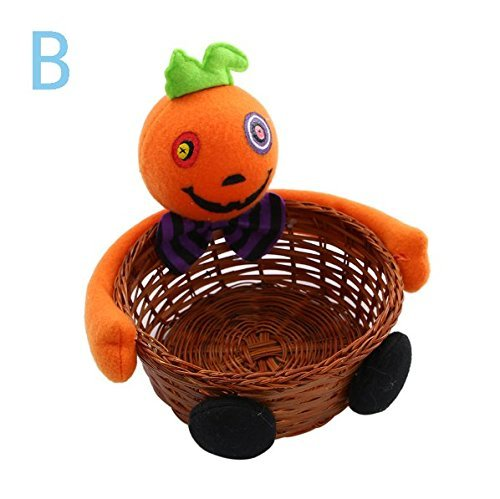 VPlus 2Pcs Halloween Candy Basket,Ghost Pumpkin Head Doll Decoration Bowl for Biscuit Fruit Biscuit Basket Pumpkin Black Cat Ghost Hand-Woven Decoration Home Decor Gift Packages Pattern Random