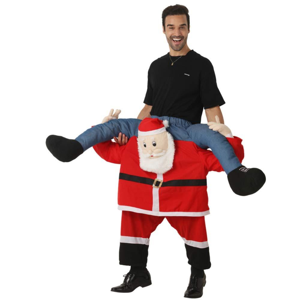 Barato FAFY Navidad Disfraz Unisex De Papá Noel Disfraz De Caballero - con Cosas Tus Propias Piernas,Red