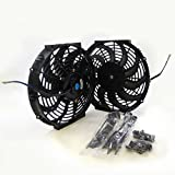 Set of 2 Universal Black 16 inch 12 Volt Slim Fan Push Pull Electric Radiator Cooling Mount Kit