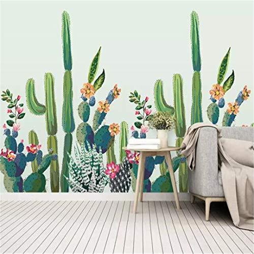 Papel pintado 3D, tamaño grande, personalizable, tamaño grande, papel pintado a mano, diseño de flores de cactus,...