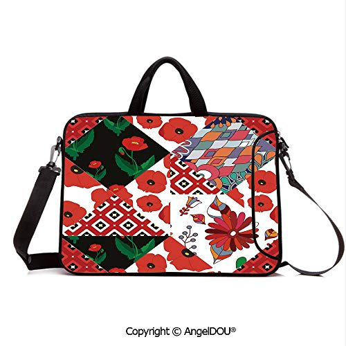 AngelDOU Customized Neoprene Printed Laptop Bag Notebook Handbag Patchwork Inspired Pattern with Poppy Flowers Russian Slavic Cultural Design Rev Compatible with mac air mi pro/Lenovo/asus/acer M